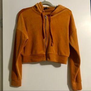 Rust Orange Velour Crop Zip Up Sweater with Hoodie